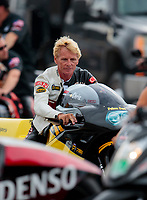 Aug 31, 2019; Clermont, IN, USA; NHRA pro stock motorcycle rider Chris Bostick during qualifying for the US Nationals at Lucas Oil Raceway. Mandatory Credit: Mark J. Rebilas-USA TODAY Sports
