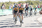 Sepp Kuss (USA) and Primoz Roglic (SLO) Jumbo-Visma climb during Stage 14 of La Vuelta d'Espana 2021, running 165.7km from Don Benito to Pico Villuercas, Spain. 28th August 2021.     <br /> Picture: Luis Angel Gomez/Photogomezsport   Cyclefile<br /> <br /> All photos usage must carry mandatory copyright credit (© Cyclefile   Luis Angel Gomez/Photogomezsport)