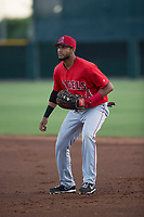 AZL Angels first baseman Bernabe Camargo (64) during an Arizona League game against the AZL Giants Black at the San Francisco Giants Training Complex on July 1, 2018 in Scottsdale, Arizona. The AZL Giants Black defeated the AZL Angels by a score of 4-2. (Zachary Lucy/Four Seam Images)