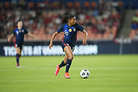 HOUSTON, TX - JUNE 13: Margaret Purce #20 of the United States moves with the ball during a game between Jamaica and USWNT at BBVA Stadium on June 13, 2021 in Houston, Texas.