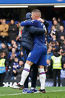 Chelsea manager Frank Lampard hugs Ross Barkley after their sides win<br /> <br /> Photographer Stephanie Meek/CameraSport<br /> <br /> The Premier League - Chelsea v Everton - Sunday 8th March 2020 - Stamford Bridge - London<br /> <br /> World Copyright © 2020 CameraSport. All rights reserved. 43 Linden Ave. Countesthorpe. Leicester. England. LE8 5PG - Tel: +44 (0) 116 277 4147 - admin@camerasport.com - www.camerasport.com