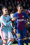 Hugo Mallo Novegil of RC Celta de Vigo (L) fights for position with Paulinho of FC Barcelona (R) during the La Liga 2017-18 match between FC Barcelona and RC Celta de Vigo at Camp Nou Stadium on 02 December 2017 in Barcelona, Spain. Photo by Vicens Gimenez / Power Sport Images