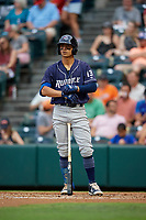 Binghamton Rumble Ponies shortstop Andres Gimenez (13) at bat during an Eastern League game against the Richmond Flying Squirrels on May 29, 2019 at The Diamond in Richmond, Virginia.  Binghamton defeated Richmond 9-5 in ten innings.  (Mike Janes/Four Seam Images)