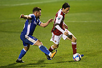 Joel Lopez of Arsenal and former Barcelona player, takes the ball past Gillingham's Alex MacDonald during Gillingham vs Arsenal Under-21, Papa John's Trophy Football at the MEMS Priestfield Stadium on 10th November 2020