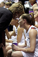 BERKELEY, CA - MARCH 30: Assistant coach Kate Paye advises Jeanette Pohlen during Stanford's 74-53 win against the Iowa State Cyclones on March 30, 2009 at Haas Pavilion in Berkeley, California.