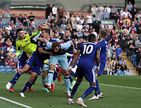 29th August 2021; Turf Moor, Burnley, Lancashire, England; Premier League football, Burnley versus Leeds United: Leeds United goalkeeper Illan Meslier punches the ball clear from a packed six yard area