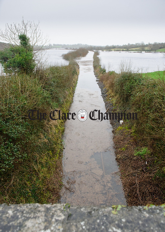 A view of the flooded railway line at Ballycar, Newmarket On Fergus. Photograph by John Kelly.