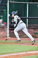 Pulaski Yankees first baseman Andres Chaparro (18) swings at a pitch during game one of the Appalachian League Championship Series against the Elizabethton Twins at Joe O'Brien Field on September 7, 2017 in Elizabethton, Tennessee. The Twins defeated the Yankees 12-1. (Tony Farlow/Four Seam Images)