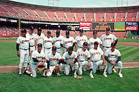 SAN FRANCISCO, CA - Old timers gather for a team picture on Old Timers Day at Candlestick Park in San Francisco, California in 1988. Among those in the picture include Willie Mays, Orlando Cepeda, Juan Marichal, Bobby Bonds and Gaylord Perry. Photo by Brad Mangin
