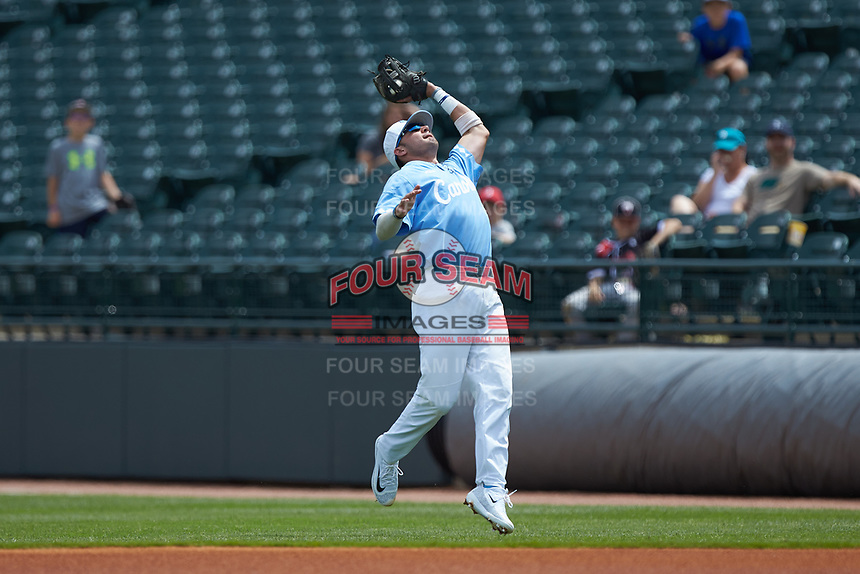 North Carolina Tar Heels second baseman Zack Gahagan (10) catches a pop fly during the game against the Florida State Seminoles in the 2017 ACC Baseball Championship Game at Louisville Slugger Field on May 28, 2017 in Louisville, Kentucky. The Seminoles defeated the Tar Heels 7-3. (Brian Westerholt/Four Seam Images)