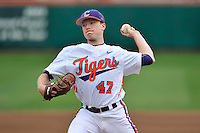 Starting pitcher Alex Schnell (47) of the Clemson University Tigers delivers a pitch in a game against the Wofford College Terriers on Tuesday, March 1, 2016, at Doug Kingsmore Stadium in Clemson, South Carolina. Clemson won, 7-0. (Tom Priddy/Four Seam Images)