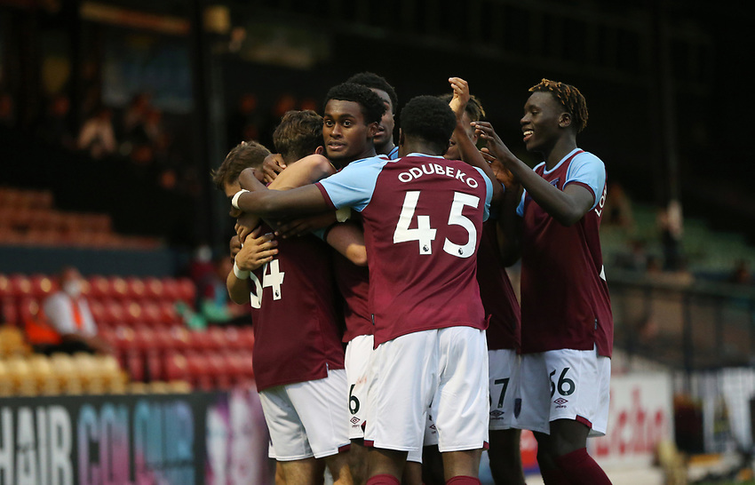 West Ham United's Conor Coventry celebrates scoring his side's third goal with his team mates<br /> <br /> Photographer Rob Newell/CameraSport<br /> <br /> EFL Trophy Southern Section Group A - Southend United v West Ham United U21 - Tuesday 8th September 2020 - Roots Hall - Southend-on-Sea<br />  <br /> World Copyright © 2020 CameraSport. All rights reserved. 43 Linden Ave. Countesthorpe. Leicester. England. LE8 5PG - Tel: +44 (0) 116 277 4147 - admin@camerasport.com - www.camerasport.com