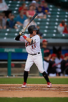 Indianapolis Indians Jake Elmore (13) bats during an International League game against the Syracuse Mets on July 16, 2019 at Victory Field in Indianapolis, Indiana.  Syracuse defeated Indianapolis 5-2  (Mike Janes/Four Seam Images)