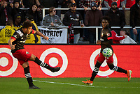 WASHINGTON, DC - MARCH 07: Yamil Asad #11 of DC United makes a pass during a game between Inter Miami CF and D.C. United at Audi Field on March 07, 2020 in Washington, DC.