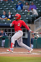 Springfield Cardinals outfielder Johan Mieses (41) connects a pitch on May 18, 2019, at Arvest Ballpark in Springdale, Arkansas. (Jason Ivester/Four Seam Images)