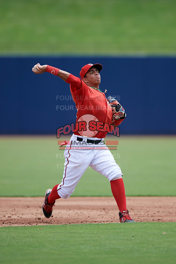 GCL Nationals second baseman Luis Garcia (7) warmup throw to first base during the second game of a doubleheader against the GCL Mets on July 22, 2017 at The Ballpark of the Palm Beaches in Palm Beach, Florida.  GCL Mets defeated the GCL Nationals 4-1.  (Mike Janes/Four Seam Images)