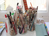 Paint brushes at Home Learning outreach in the village hall, Storrington, West Sussex, using the Steiner method.