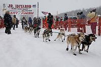 Carole Keller of Eagle River leaves the start line of the 2009 Junior Iditarod on Knik Lake on Saturday Februrary 28, 2009.