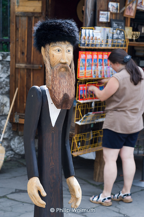 Tourist souvenirs for sale in Kazimierz, the pre-Second World War Jewish district of Krakow. One of a number of ventures set up to exploit the city's Jewish history by catering to growing tourist interest in Holocaust memorabilia.