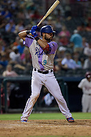 Frisco RoughRiders Isiah Kiner-Falefa (9) bats during a Texas League game against the Amarillo Sod Poodles on July 13, 2019 at Dr Pepper Ballpark in Frisco, Texas.  (Mike Augustin/Four Seam Images)