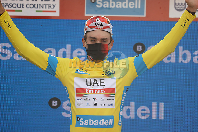 Race leader Brandon McNulty (USA) UAE Team Emirates retains the yellow jersey at the end of Stage 5 of the Itzulia Basque Country 2021, running 160.2km from Hondarribia to Ondarroa, Spain. 9th April 2021.  <br /> Picture: Luis Angel Gomez/Photogomezsport | Cyclefile<br /> <br /> All photos usage must carry mandatory copyright credit (© Cyclefile | Luis Angel Gomez/Photogomezsport)