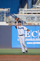 Tampa Tarpons outfielder Omar Carrizales (12) catches a popup during a Florida State League game against the Jupiter Hammerheads on July 26, 2019 at George M. Steinbrenner Field in Tampa, Florida.  Tampa defeated Jupiter 2-0.  (Mike Janes/Four Seam Images)