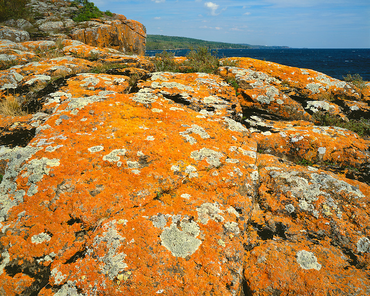 Lichen covered boulders on the shore of Lake Superior; Splitrock Lighthouse State Park, MN
