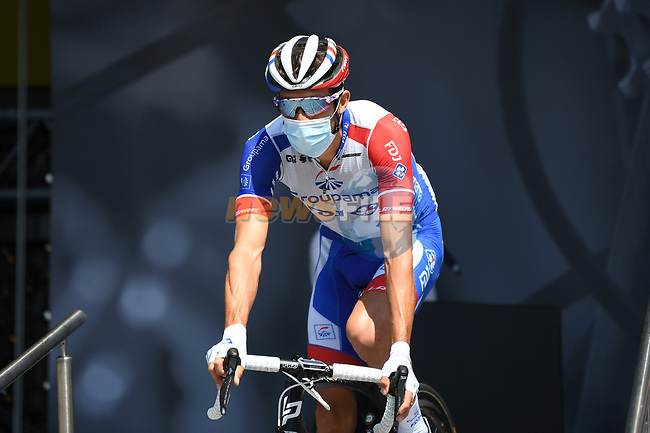 Thibaut Pinot (FRA) Groupama-FDJ at sign on before the start of Stage 3 of Criterium du Dauphine 2020, running 157km from Corenc to Saint-Martin-de-Belleville, France. 14th August 2020.<br /> Picture: ASO/Alex Broadway | Cyclefile<br /> All photos usage must carry mandatory copyright credit (© Cyclefile | ASO/Alex Broadway)