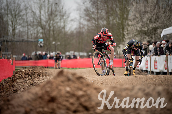 Michael Vanthourenhout (BEL/Pauwels Sauzen - Bingoal) 'dancing' over the dirt pump track<br /> <br /> Elite + U23 Men's Race<br /> CX GP Leuven (BEL) 2020<br />  <br /> ©kramon