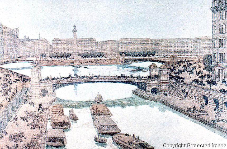 """Burnham Plan:  Chicago--Looking North, South Branch of Chicago River.  """"Examples of the arrangement exist at Algiers, Budapest, Geneve and Paris."""""""