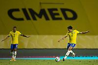 13th November 2020; Morumbi Stadium, Sao Paulo, Sao Paulo, Brazil; World Cup 2022 qualifiers; Brazil versus Venezuela;  Marquinhos of Brazil crosses long