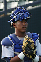 Wilmington Blue Rocks catcher Salvador Perez in the bullpen preparing to warm up the pitcher before a game vs. the Myrtle Beach Pelicans at BB&T Coastal Field in Myrtle Beach, SC, on May 29, 2010. Photo By Robert Gurganus/Four Seam Images