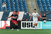 FOXBOROUGH, MA - JULY 23: Damian Rivera #72 of New England Revolution II takes a shot during a game between Toronto FC II and New England Revolution II at Gillette Stadium on July 23, 2021 in Foxborough, Massachusetts.