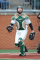 Charlotte 49ers catcher Zack Smith (19) during the game against the Arkansas Razorbacks at Hayes Stadium on March 21, 2018 in Charlotte, North Carolina.  The 49ers defeated the Razorbacks 6-3.  (Brian Westerholt/Four Seam Images)