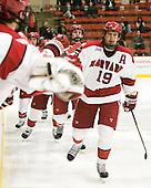 Alex Fallstrom (Harvard - 16), Alex Killorn (Harvard - 19) - The Harvard University Crimson defeated the visiting Yale University Bulldogs 8-2 in the third game of their ECAC Quarterfinal matchup on Sunday, March 11, 2012, at Bright Hockey Center in Cambridge, Massachusetts.