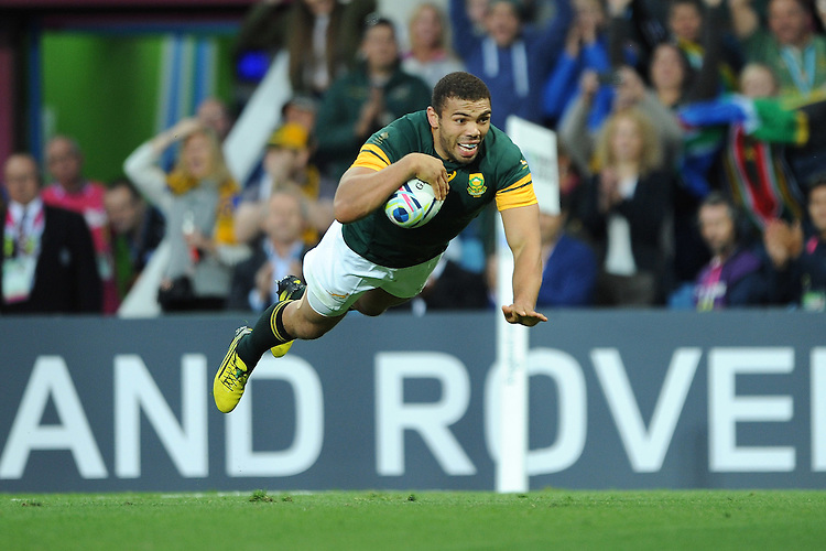 Bryan Habana of South Africa scores a last minute try during Match 15 of the Rugby World Cup 2015 between South Africa and Samoa - 26/09/2015 - Villa Park, Birmingham<br /> Mandatory Credit: Rob Munro/Stewart Communications
