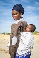 Fulani girl and her baby near Marigot One, St Louis, Senegal