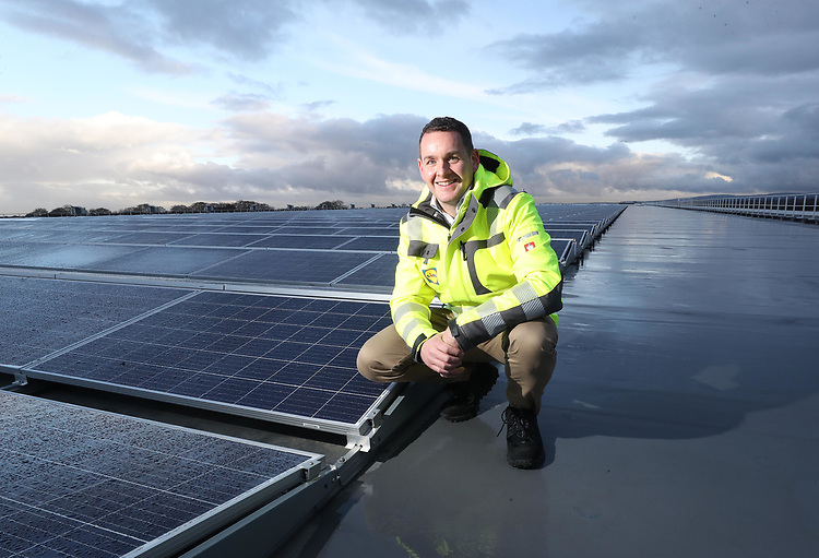 No Repro Fee.<br /><br />Friday 22nd November 2019.<br /><br />JP Scally, Managing Director Lidl Ireland and Northern Ireland., pictured on the roof of Lidl's Newbridge Distribution Centre at Little Connell Road, Newbridge, Co Kildare which was officially opened today by the Minister of Finance Paschal Donohoe. T.D . The 58,000 m2 premises is the single largest investment made by the Lidl in Ireland since its first store opened in 2000. The new distribution centre has 4, 364 solar panels the biggest array of solar panels in Ireland. Pic. Robbie Reynolds.