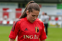 Sien Vandersanden (18) of Belgium pictured during the warm up before a friendly female soccer game between the national teams of Luxemburg and Belgium , called the Red Flames  in a preparation towards the qualification for the  FIFA Women's World Cup , on saturday 12 th of June 2021  in Wiltz , Luxemburg . PHOTO SPORTPIX BE   SPP   SEVIL OKTEM