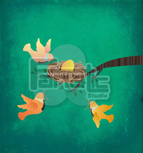Birds making nest together with egg on branch depicting the concept of business merger