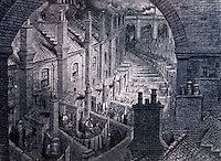 """London: G. Dore, LONDON, 1872. """"Over London--by Rail"""".   Reference only."""