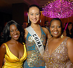 Jacqueline Chaumette, Miss China Universe Wang Jingyao  and Tracye McDaniel at the World Trade Gala at the Hotel ZaZa Saturday Aug. 29, 2009.(Dave Rossman/For the Chronicle)