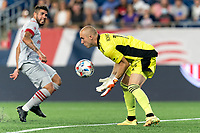 FOXBOROUGH, MA - JULY 7: Brad Knighton #18 of New England Revolution makes a save during a game between Toronto FC and New England Revolution at Gillette Stadium on July 7, 2021 in Foxborough, Massachusetts.