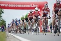 Gert Dockx (BEL/Lotto-Belisol) in Jens Debusschere's (BEL/Lotto-Belisol) slipstream<br /> <br /> Belgian Championships 2014 - Wielsbeke<br /> Elite Men