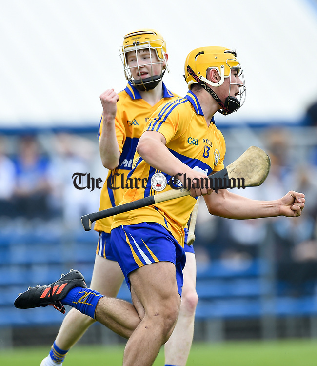 Mark Rodgers of Clare celebrates his goal against Waterford  during their Munster  championship round robin game at Cusack Park Photograph by John Kelly.