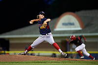 Lowell Spinners relief pitcher Lukas Young (47) delivers a pitch during a game against the Batavia Muckdogs on July 11, 2017 at Dwyer Stadium in Batavia, New York.  Lowell defeated Batavia 5-2.  (Mike Janes/Four Seam Images)