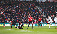 Gylfi Sigurdsson of Swansea City scores his sides second goal during the Barclays Premier League match between AFC Bournemouth and Swansea City played at The Vitality Stadium, Bournemouth on March 11th 2016