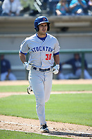 Tyler Ramirez (38) of the Stockton Ports runs to first base during a game against the Rancho Cucamonga Quakes at LoanMart Field on May 28, 2017 in Rancho Cucamonga, California. Stockton defeated Rancho Cucamonga, 7-4. (Larry Goren/Four Seam Images)