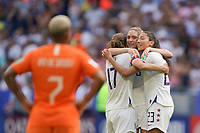 LYON, FRANCE - JULY 07: Tobin Heath #17, Morgan Brian #6, Christen Press #23 after the 2019 FIFA Women's World Cup France final match between the Netherlands and the United States at Stade de Lyon on July 07, 2019 in Lyon, France.