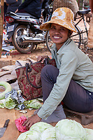 Cambodia.  Woman Selling Cabbages in  Market near Siem Reap.